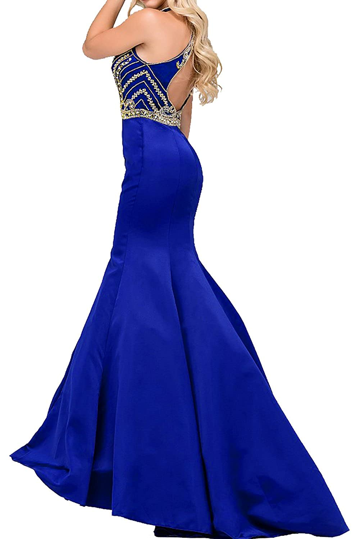 Milano Bride Royal Blau Langes Damen Abendkleider Ballkleider Etuikleider  Abschlussballkleider mit Strasse: Amazon.de: Bekleidung