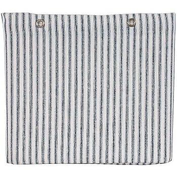 Sturdy Cotton Duck Shower Curtain, TUB Size, Blue Ticking Stripe