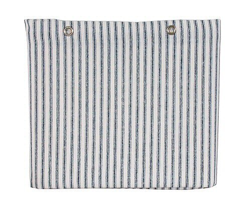 Sturdy Cotton Duck Shower Curtain, TUB Size, Blue Ticking - Striped Ticking