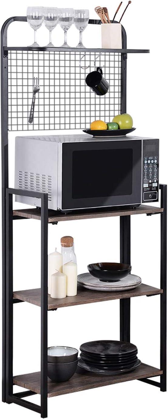 GreenForest Kitchen Baker s Rack, Folding Design 4 Tier Kitchen Standing Storage Rack with Microwave Organizer, Easy Assembly, Walnut