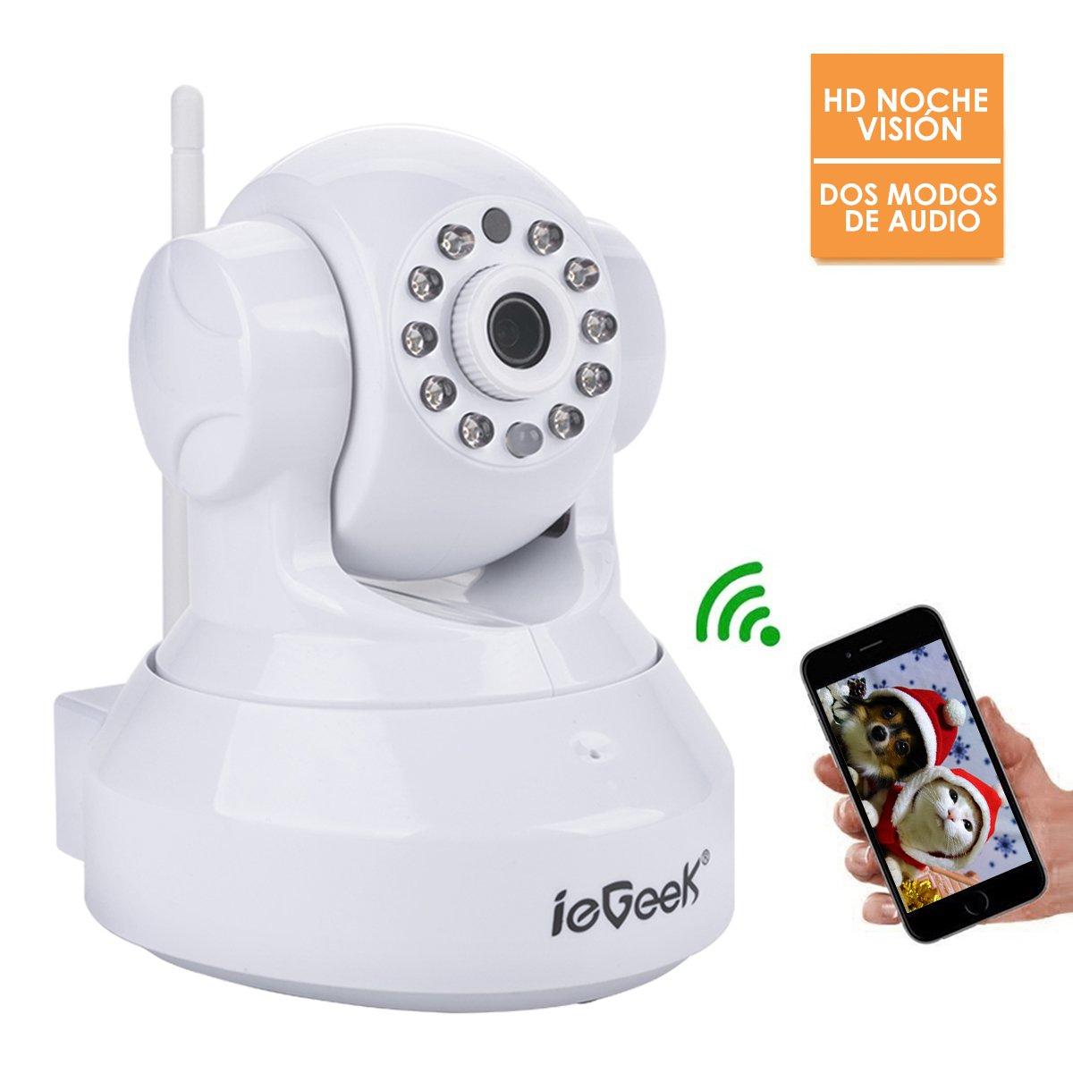 ieGeek Cámara de Seguridad inalámbrica WiFi,720P cámara IP con Audio bidireccional,Visión nocturna,ranura de tarjeta de memoria,Cámara de vigilancia para ...