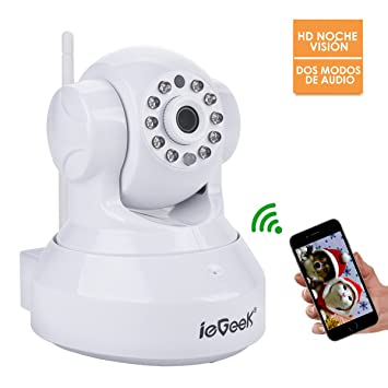 ieGeek Cámara de Seguridad inalámbrica WiFi,720P cámara IP con Audio bidireccional,Visión nocturna,ranura de tarjeta de memoria,Cámara de vigilancia ...