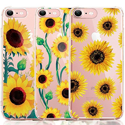 iPhone 7 Case, iPhone 8 Case, [3-Pack] CarterLily Watercolor Flowers Floral Pattern Soft Clear Flexible TPU Back Case for iPhone 7 iPhone 8 4.7'' (Sunflowers A)