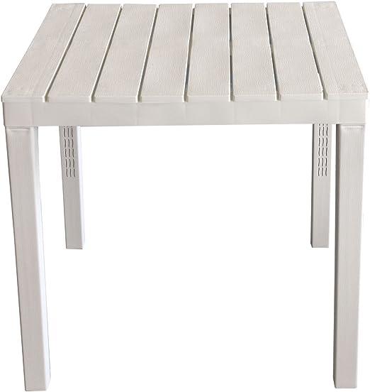 Tavolo Giardino Plastica Bianco.Tavolo Da Giardino Bali Effetto Legno Plastica Bianco 78 X 78