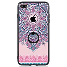 iPhone 7 Plus Case, SwiftBox Clear Black Design Built-in Ring Kickstand Coated Premium Non Slip Surface Case for iPhone 7 Plus with Tempered Glass Screen Protector (Purple Mandala Lace Flowers)