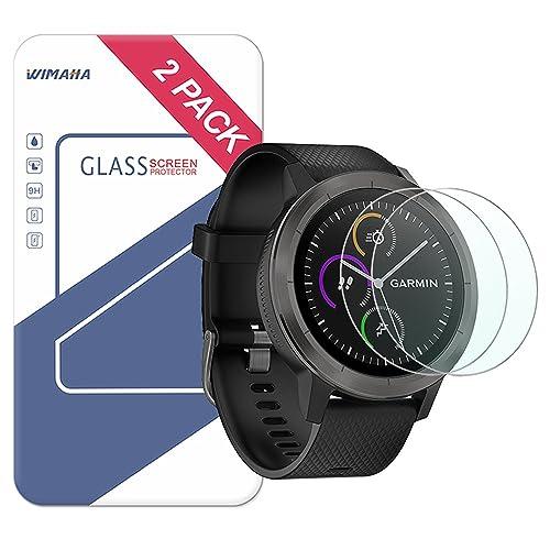 Garmin Vivoactive 3 Screen Protector, Wimaha 2 Pack Tempered Glass Screen Protector for Garmin Vivoactive 3 Ultra Clear Scratch Resistant