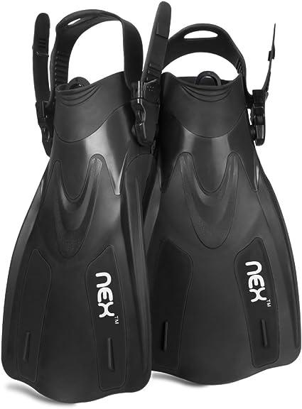 Adult Snorkeling Swim Fins Short Blade Diving Fins Adjustable Flippers Size 4-8