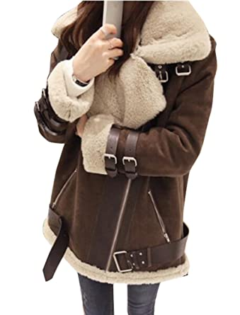 1592de8ed SYTX Women Zipper Faux Suede Fur Lined Aviator Biker Jacket Coat ...