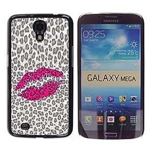 Be Good Phone Accessory // Dura Cáscara cubierta Protectora Caso Carcasa Funda de Protección para Samsung Galaxy Mega 6.3 I9200 SGH-i527 // Leopard Pattern Lips Pink Hot Love