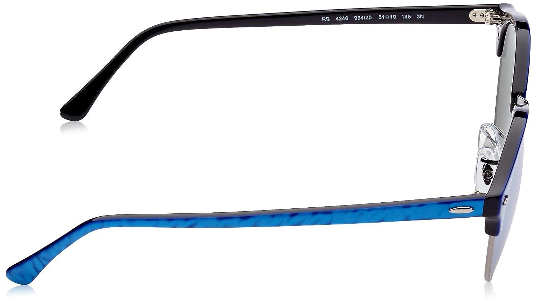 2171006075b21 Amazon.com  Ray-Ban Unisex RB4246 984 30 Clubround Sunglasses Blu on Blac Silver  Flash 51mm  Ray-Ban  Clothing