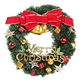 Christmas Wreath, AmyHomie 24-Inch Merry Christmas Decorated Pine Wreath, Artificial Garland with Gold Bowknot Bells Gifts for Christmas Party Decor, Front Door Wreath (christmas wreath)
