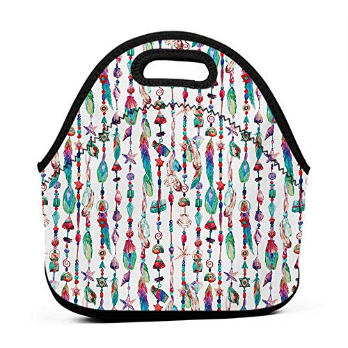Pottery Pendant Bead - Travel Case Lunchbox with Zip Feather,Marine Accessory Chains Pendants Mineral Stones Shells Beads Watercolor Style Art,Multicolor,pottery barn lunch bag for kids