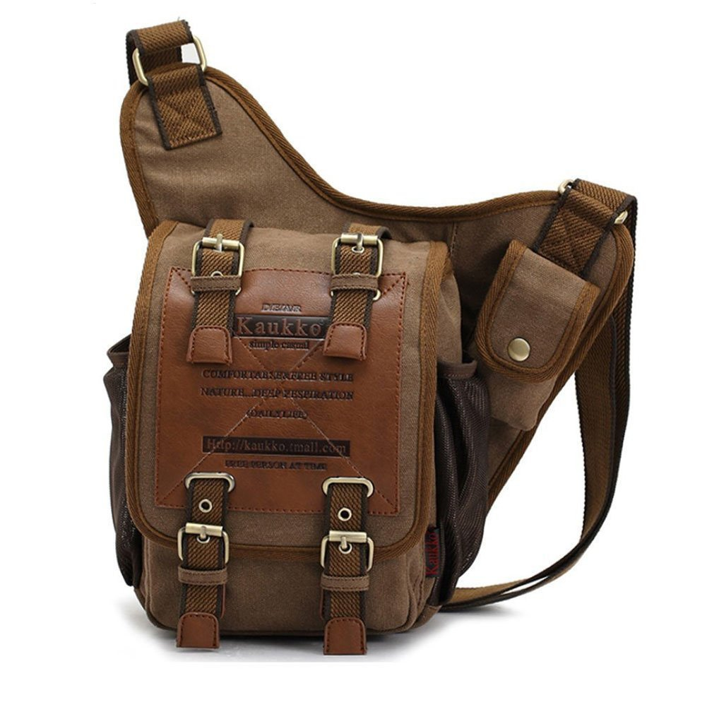 Mens Boys Vintage Canvas Shoulder Military Messenger Bag Sling School Bags  Chest Military Leather Patchwork Messenger Bag(Khaki)- b00620fb153