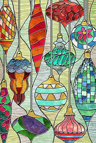 Toland Home Garden Stained Glass Ornaments 28 x 40 Inch Decorative Colorful Christmas Holiday Window House Flag