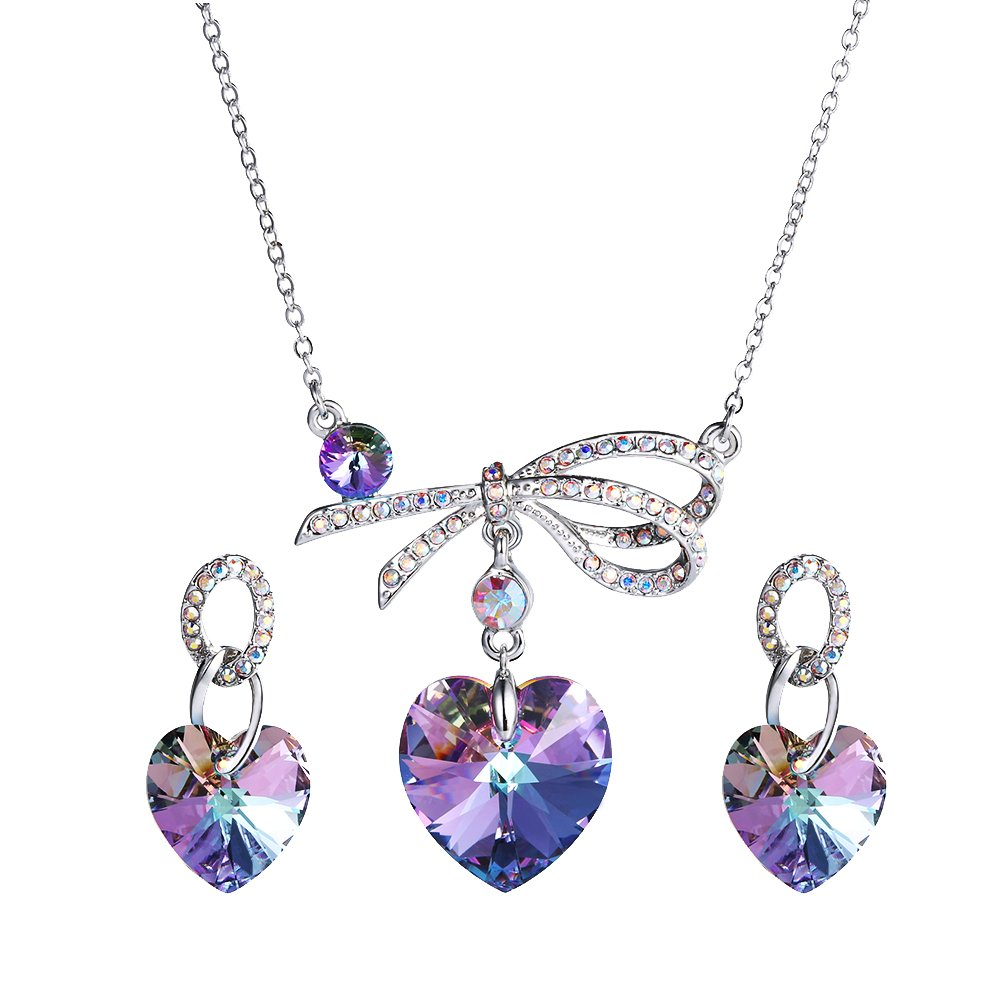 Xuping Fancy Love Heart Pendant Earrings with Box Crystals from Swarovski Luxury Jewelry Set Women Boxing Day Gifts (Purple)
