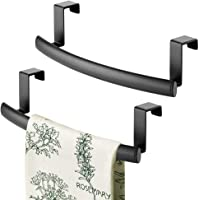 """mDesign Modern Metal Kitchen Storage Over Cabinet Curved Towel Bar Rack - Hang on Inside or Outside of Doors, Organize and Hang Hand, Dish, and Tea Towels - Also for Bars - 9.7"""" Wide, 2 Pack - Black"""