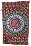 Amitus Exports(TM Premium Quality 1 X Peacock Flower Circle 84''X54''(Approx.) Inches Orange Brown Multi Color Twin Size Cotton Fabric Tapestry Hippy Indian Mandala Throws (Handmade in India)