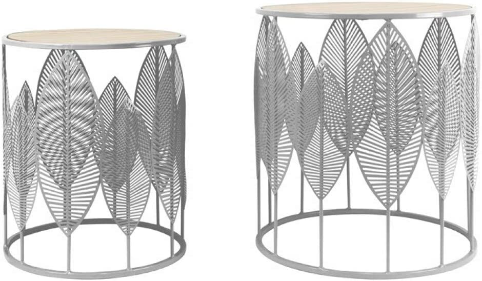 Beste Leverancier Zoneset met 2 tafels, metaal, zwart met details, hout Bois Et Gris 9yo9Uai