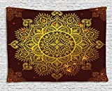Mandala Tapestry, Ornamental Snowflake Floral Ethnic Traditional Arabian Oriental Graphic Artwork, Wall Hanging for Bedroom Living Room Dorm, 60 W X 40 L Inches, Yellow Brown