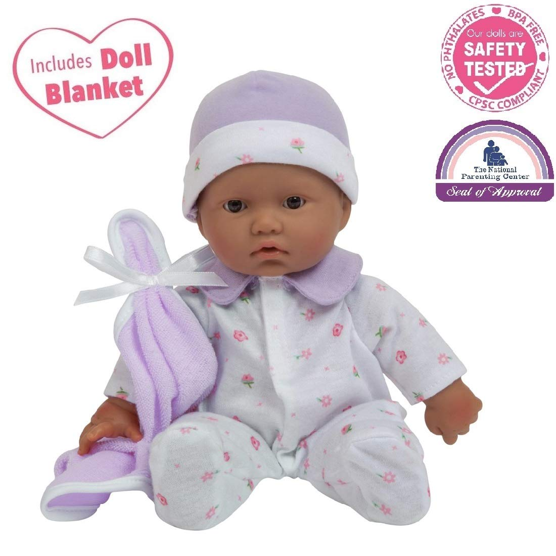JC Toys, La Baby 11-inch Hispanic Washable Soft Body Play Doll For Kid