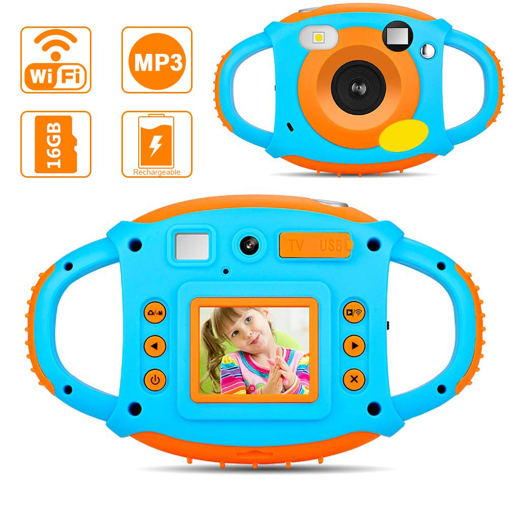 Ifmeyasi WiFi Kids Camera, 1080P 8MP Digital Video Recorder Cameras for 3-8 Year Old Girls Boys Gift, Shockproof Mini Child Camcorder with 1.77 LCD Display, Mic, Flash Light(16GB Memory Card Included)