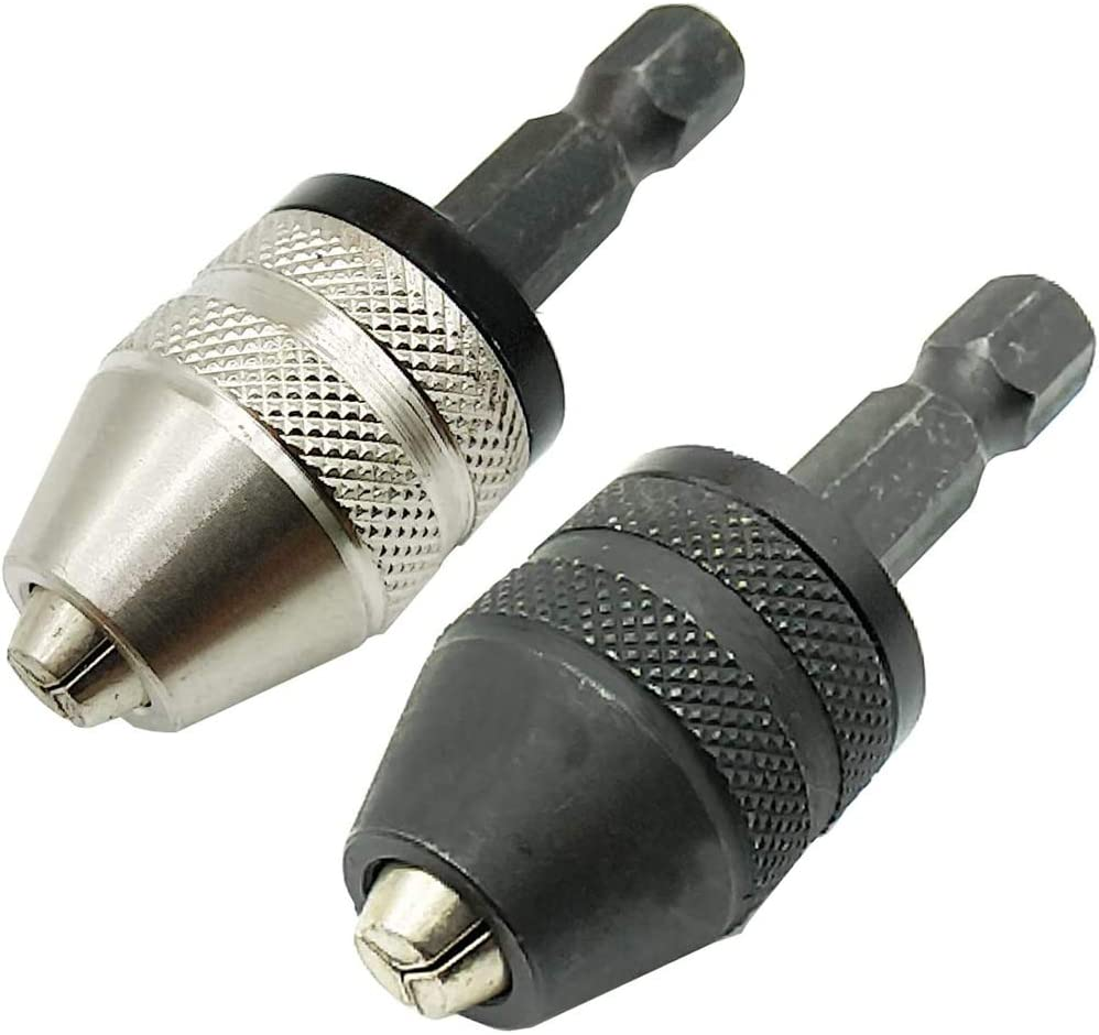 TIHOOD 2PCS 0.3-3.6mm Keyless Drill Chuck Conversion Tool, Keyless Conversion Chuck Adapter,1/4-Inch Hex Shank Drill