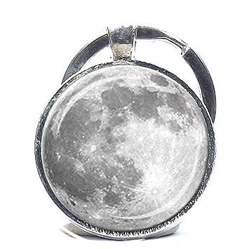 Llavero de luna llena, color blanco y gris, con diseño de ...