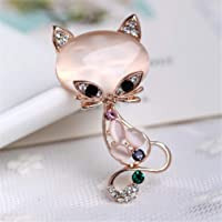 HENGSONG Fox Crystal Clothes Pin Brooch Shiny Rhinestone Pin Brooches for Women Jewelry for Girlfriend Her Valentine Christmas Birthday Gift