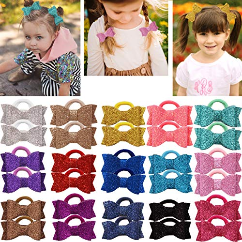 (30PCS Sparkly Sequin Glitter Hair Bows With Rubber Bands 2.75 Inch Pigtail Bows Hair Ties Hair Accessories for Girls Toddlers Kids Chidlren)