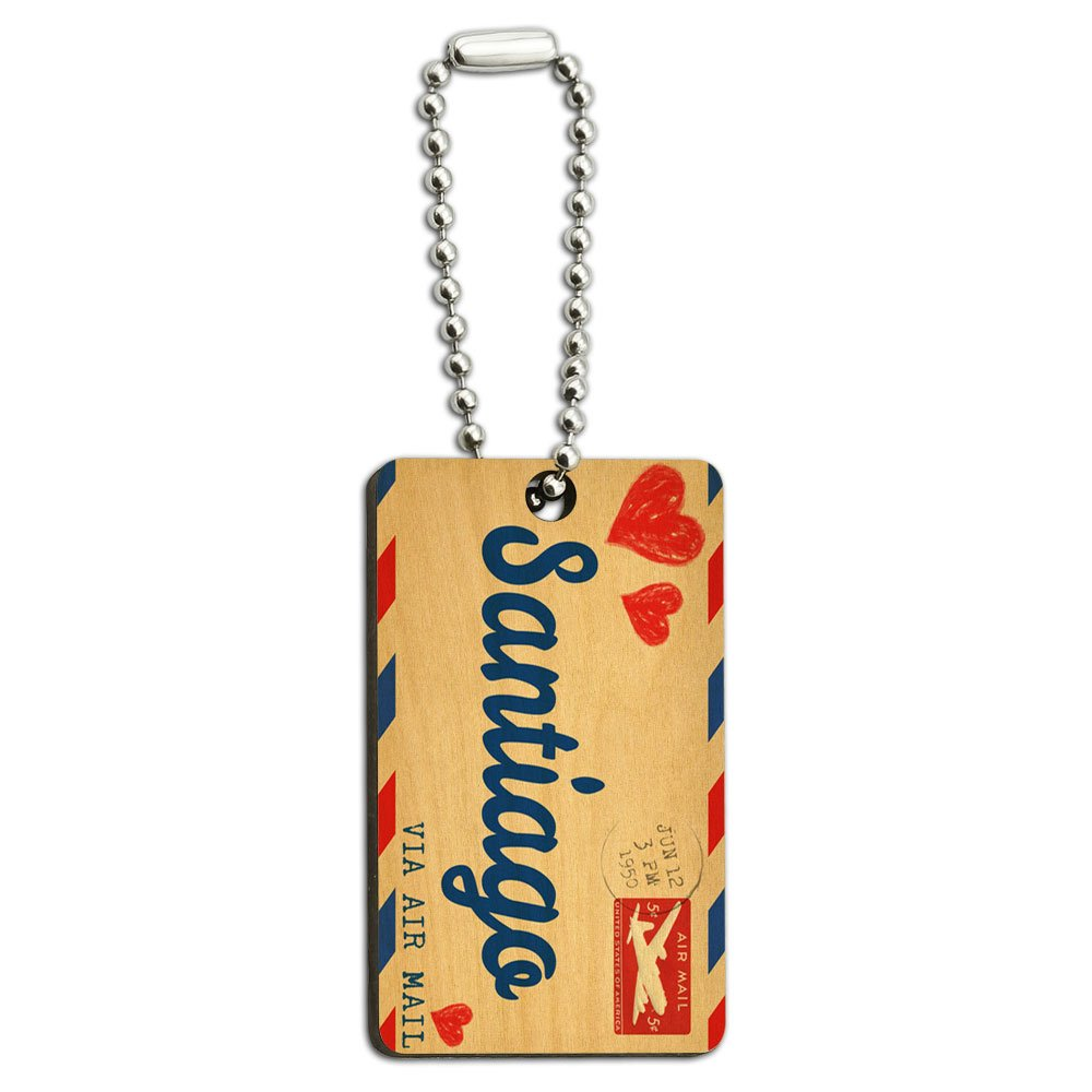 Air Mail Postcard Love for Santiago Wood Wooden Rectangle Key Chain