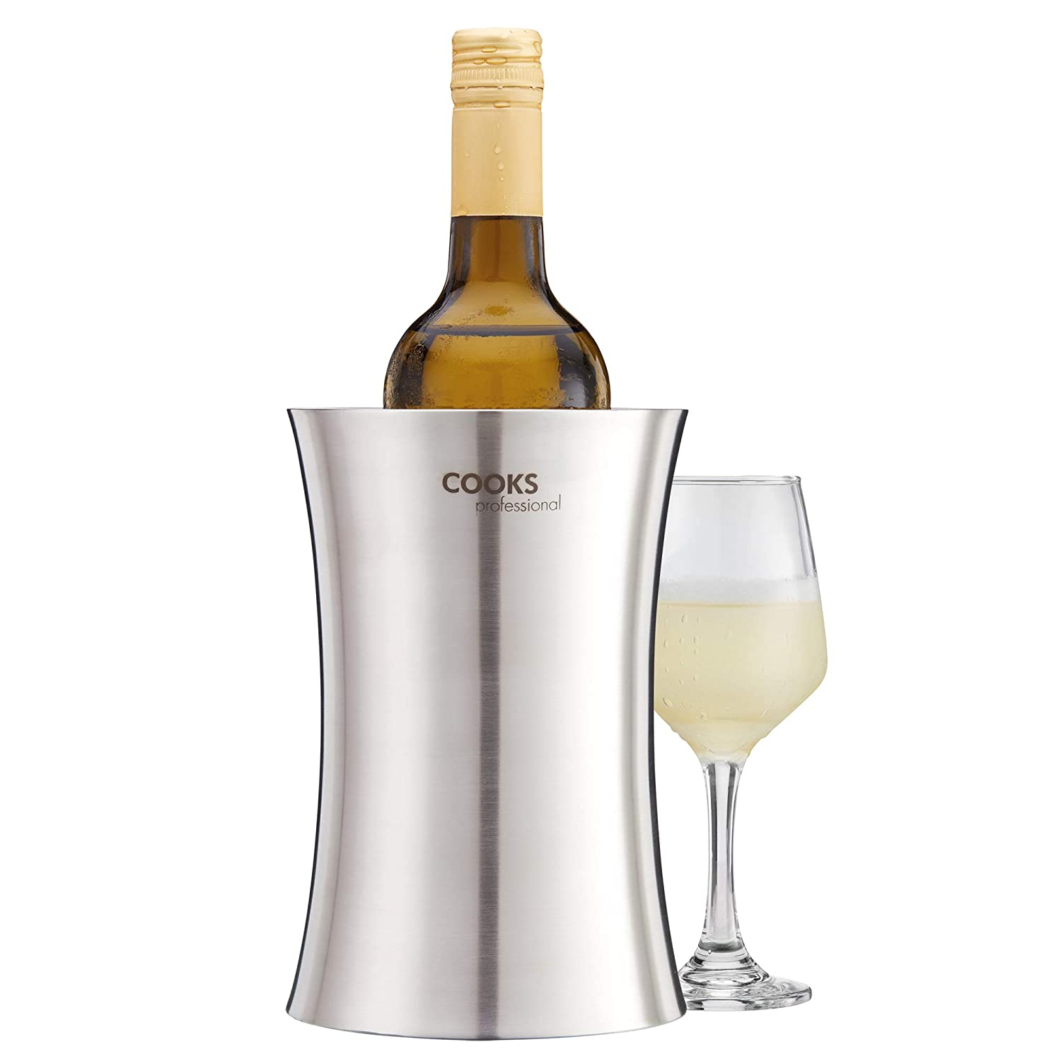 Cooks Professional Double Walled Wine Cooler Stainless Steel Drinks Chiller (Stainless Steel)
