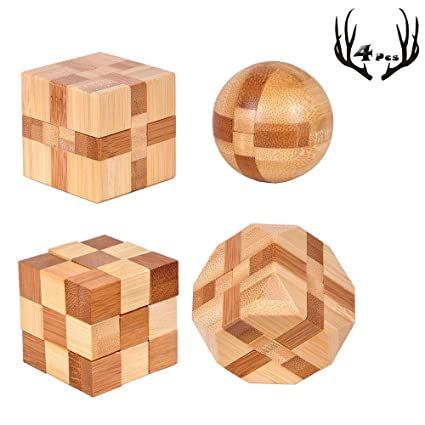 4 Pack Wooden Puzzle Games Brain Teasers Toy 3d Puzzles For Teens And Adults Wooden Logic Puzzle Wood Snake Cube Magic Cube Magic Ball Brain Teaser