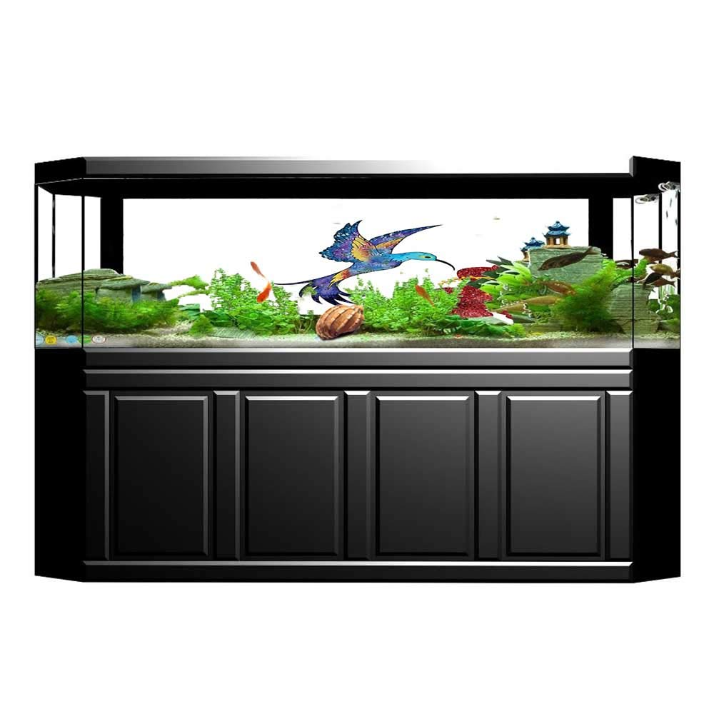 Jiahong Pan Fish Tank Background Birds Out of Cages Birdcage on Branch Wings Tail Romantic Heart Black PVC Aquarium Decorative Paper L35.4 x H15.7