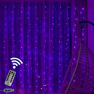 300 LED Purple Window Curtain Lights 8 Modes Remote Copper Starry String Fairy Lights Decor for Wedding, Party, Proposal, Indoor Outdoor Wall-9.8ft x 9.8ft(Purple)