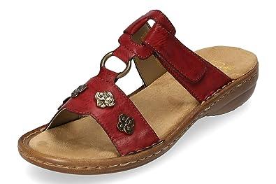 Rieker Damen Komfort Pantoletten Rot Gr. 37:
