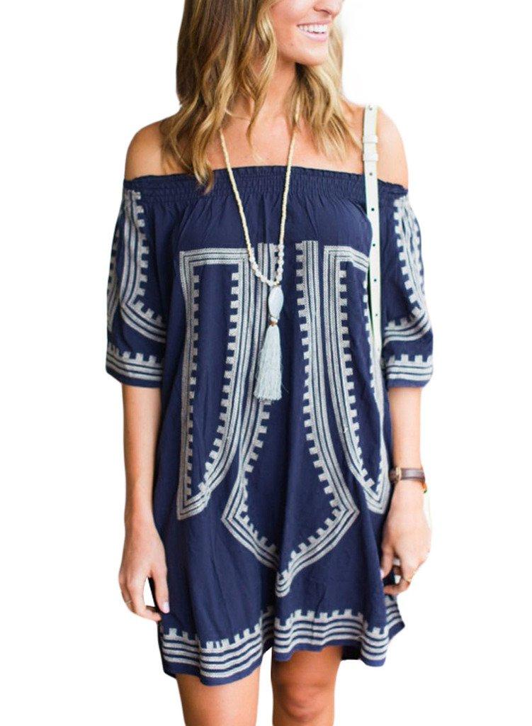 GOSOPIN Bohemian Vibe Geometric Print Off The Shoulder Beach Dress One Size Navy