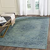 Safavieh VTG112-2220-4 Vintage Collection Turquoise and Multi Area Rug, 4-Feet by 5-Feet 7-Inch