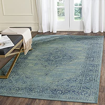 Safavieh Vintage Premium Collection VTG112-110 Transitional Oriental Light Blue Distressed Silky Viscose Area Rug (10' x 14') -  - living-room-soft-furnishings, living-room, area-rugs - 61dsZQt8DOL. SS400  -