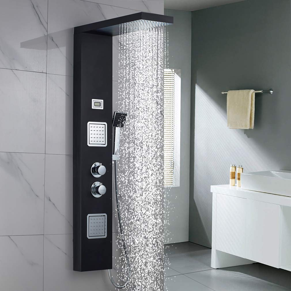 Shower Panel Column Tower Body Jets Twin Head LED LCD Temperature Time Display