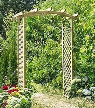 Imagen de camino con arquería pergola Eco. Rosas fichas de madera de abeto para el jardín: Amazon.es: Hogar