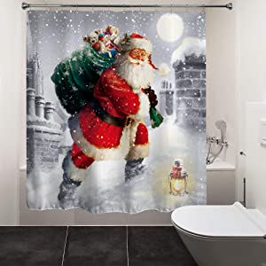 HIYOO Christmas Santa Claus Shower Curtain with Hooks, Xmas New Year Home Decorations Winter Bathroom Decor Waterproof Polyester Fabric Shower Curtain - Happy Santa Gift-Giving 72
