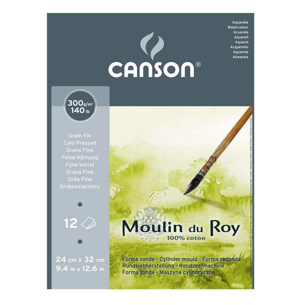 Canson Moulin du Roy - Carta per acquerelli, grana fina, Natural white, 24x32cm 400028907