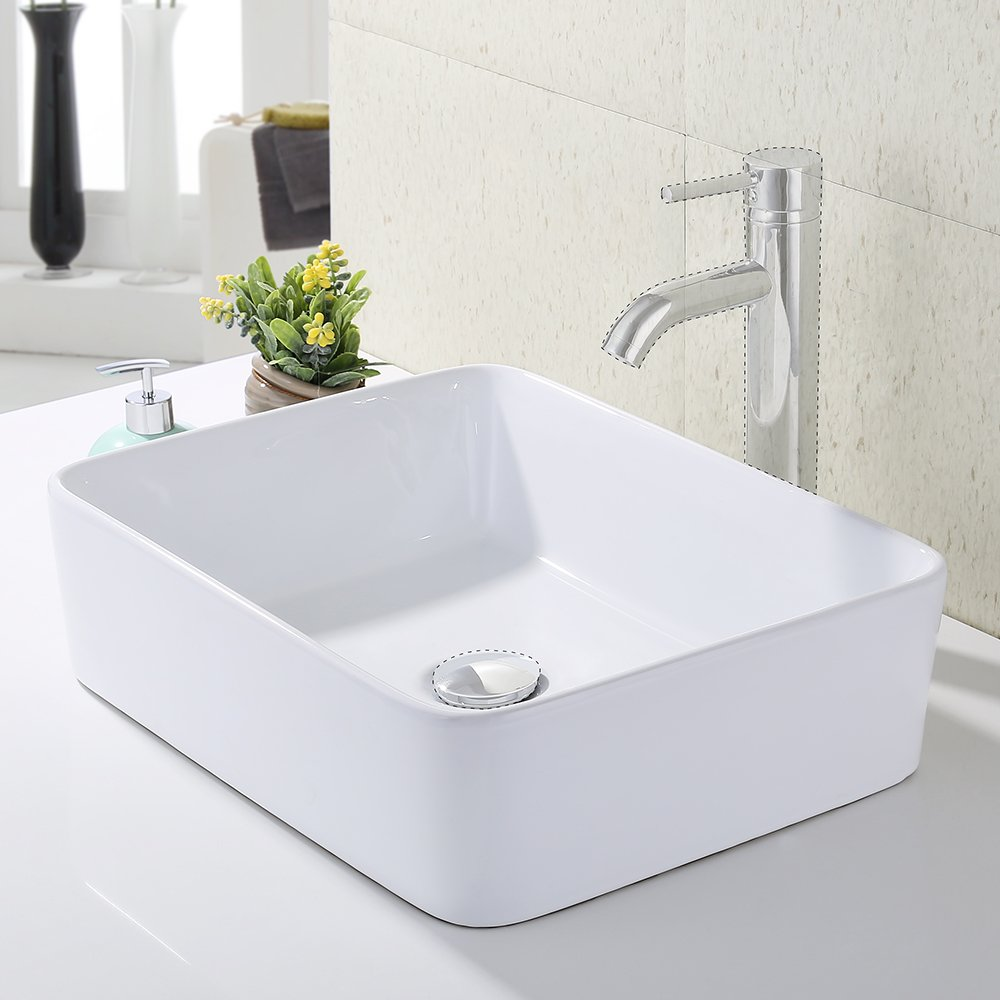 KES Bathroom Rectangular Porcelain Vessel Sink Above Counter White ...