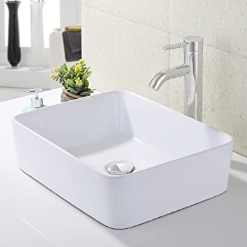 KES Bathroom Rectangular Porcelain Vessel Sink Above Counter White  Countertop Bowl Sink For Lavatory Vanity Cabinet