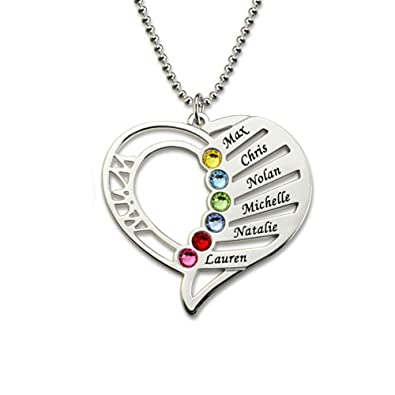 b007f16a9349e Zhaolian888 925 Sterling Silver Personalized Family Name Necklace Heart  Custom Made with 6 Name