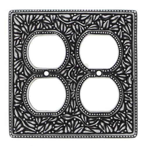 Vicenza Designs WP7003 San Michele Wall Plate with Double Outlet Opening Antique Nickel