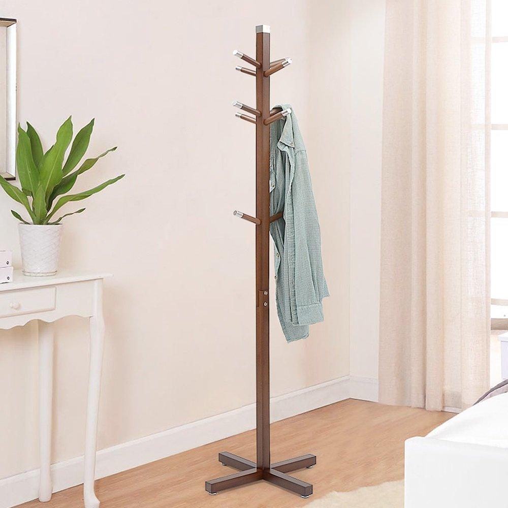 SUNSHINE Porte-manteaux En Bambou Continental 166cm Chambre À Coucher Solide Bois Hanging 10 Poteaux Suspendus ( Couleur