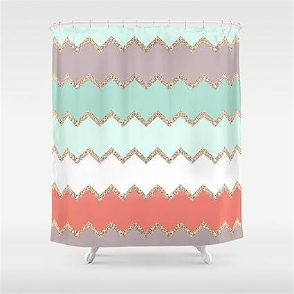 Hbesa AVALON CORAL MINT Shower Curtain 72x72 Inch