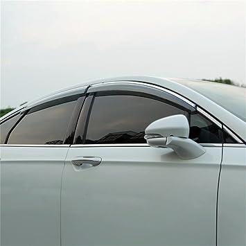 LQQDP 4pcs Smoke Tint With Chrome Trim Outside Mount Tape On//Clip On Style PVC Sun Rain Guard Vent Shade Window Visors Fit 13-18 Ford Fusion