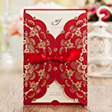 Wishmade 50x Elegant Red Laser Cut Wedding Invitations Cards with Lace and Hollow Pattern Cardstock for Baby Shower Bridal Shower Engagement Birthday Fancy Party(set of 50pcs)CW5113